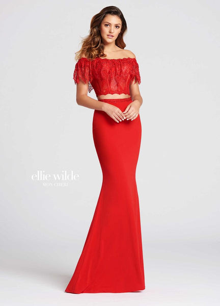 The fabric in this Ellie Wilde Two-Piece style is Lace & Jersey   Ellie Wilde by Mon Cheri