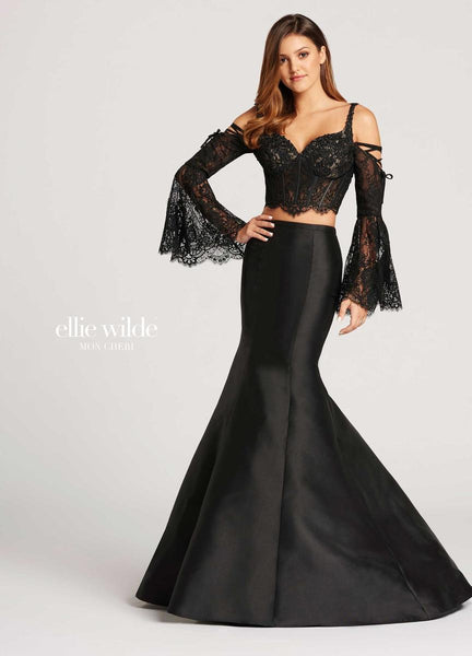 The fabric in this Ellie Wilde Two-Piece style is Lace & Mikado   Ellie Wilde by Mon Cheri