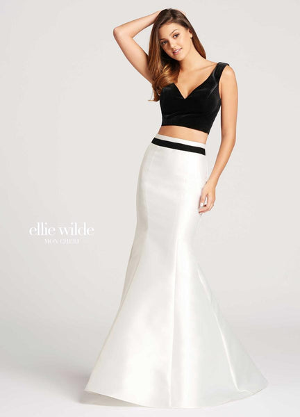 The fabric in this Ellie Wilde Two-Piece style is Velvet & Mikado   Ellie Wilde by Mon Cheri