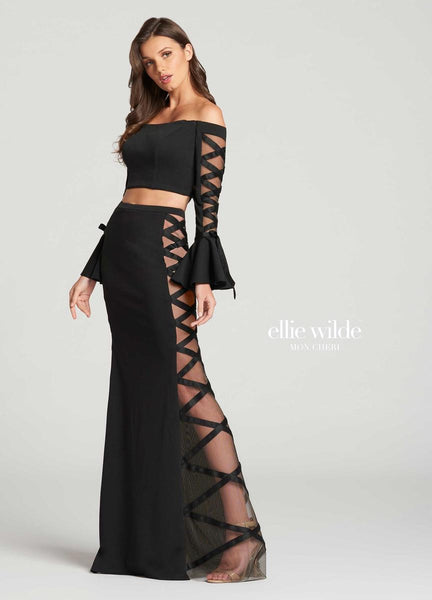 The fabric in this Ellie Wilde Two-Piece style is Heavy Jersey & Tulle   Ellie Wilde by Mon Cheri