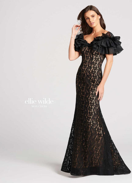 The fabric in this Ellie Wildestyle is Lace & Organza   Ellie Wilde by Mon Cheri