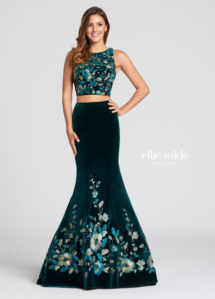 The fabric in this Ellie Wilde Two-Piecestyle is Velvet & Metallic Lace   Ellie Wilde by Mon Cheri