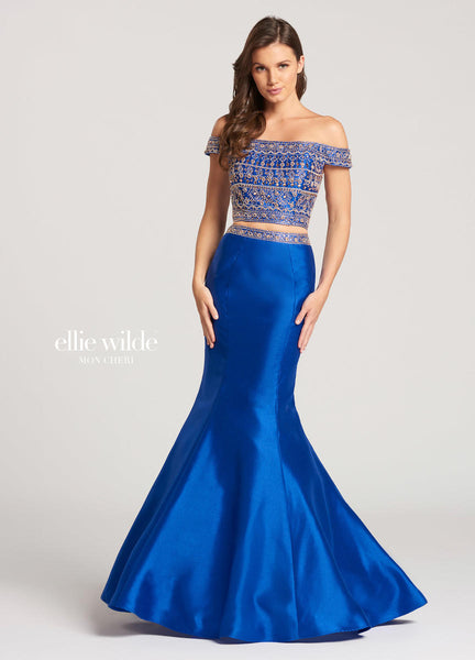 The fabric in this Ellie Wilde Two-Piecestyle is Shantung   Ellie Wilde by Mon Cheri