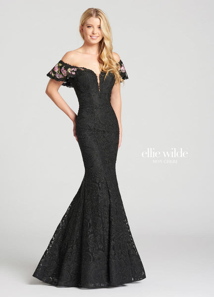 The fabric in this Ellie Wildestyle is Stretch Lace & Embroidered Lace   Ellie Wilde by Mon Cheri