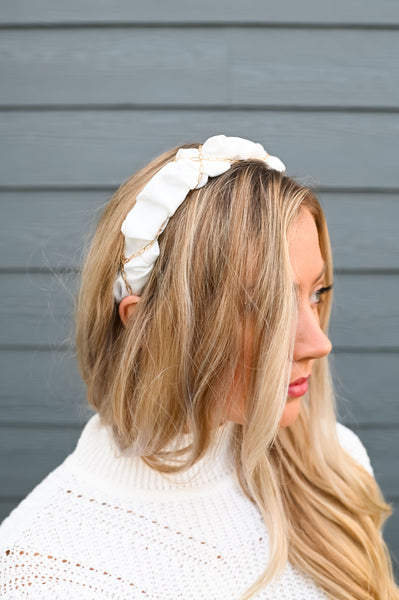 XOXO- Ruffled Chain Headband White