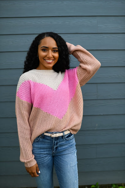 Highland- Chevron Colorblock Lightweight Sweater