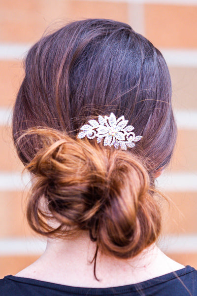 Jasmine- Floral Stoned Hair Comb