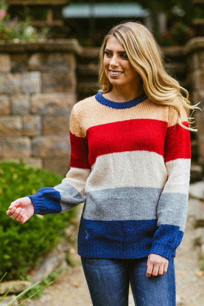 New Kid On The Color-Block- Striped Sweater