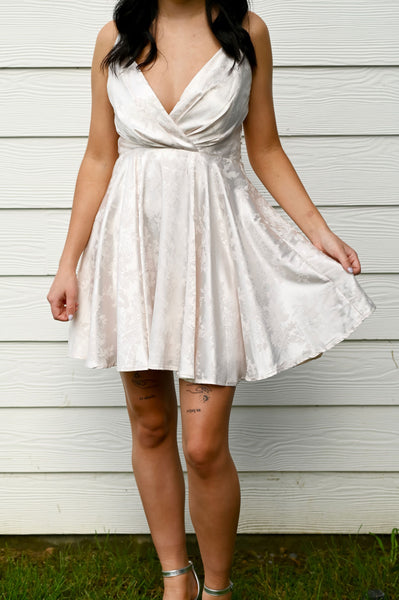 Sophisticated- Satin Jacquard Dress Ivory