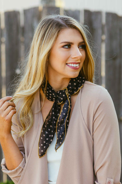 Blair- Black Dot Hair Scarf