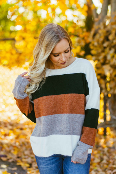 Pecan Pie- Green Color Block Sweater