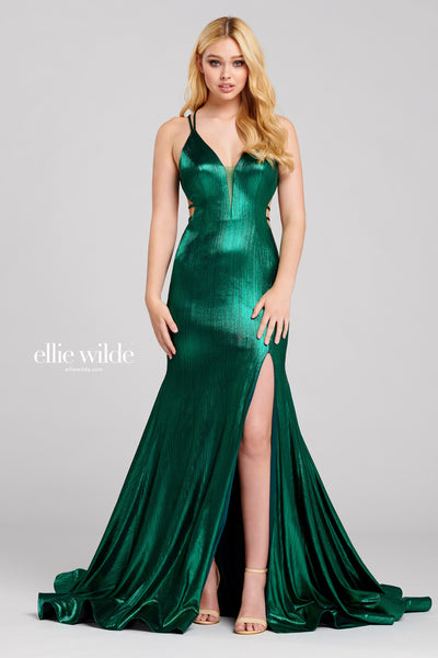 Sleeveless liquid lame fit and flare gown with a plunging v-neck, natural waist,criss cross back detail, high thigh slit, horsehair hem and a circle skirt.  Prom 2020