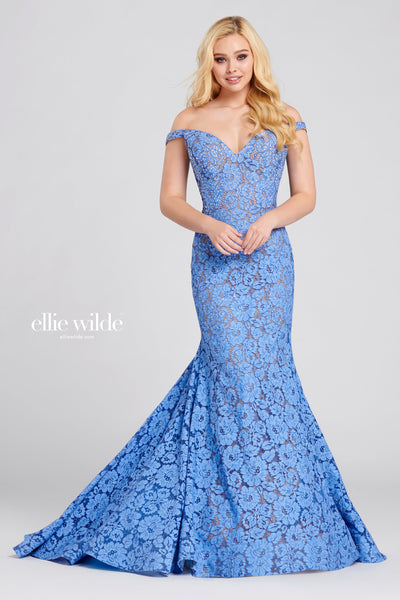 Off-the-shoulder allover lace fit and flare gown with a sweetheart neckline, natural waist, stone accents throughout the gown, horsehair hem and a circle skirt. Prom 2020