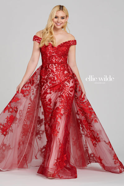 Off-the-shoulder embroidered tulle modified a-line gown with a sweetheart neckline, natural waist and a horsehair hem .  Prom 2020
