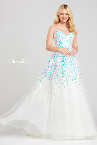 Strapless tulle and novelty sequin ball gown with a sweetheart neckline, natural waist and a flowy skirt.  Prom 2020