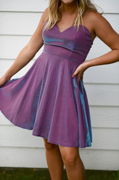 Gliterally Perfect- Strapless Glitter Dress with Pockets