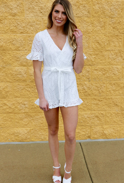 Carolina- Short Sleeve Eyelet Romper