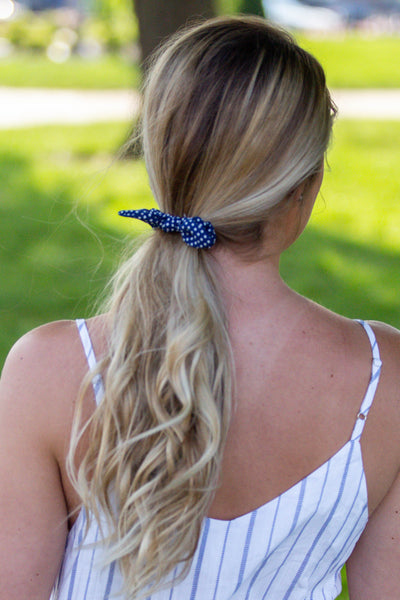 Celebration- Polka Dot Scrunchie Navy