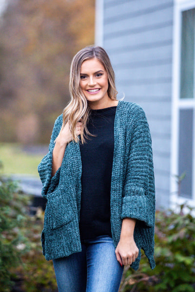 Wintergreen-Cable Knit Slouch Cardigan