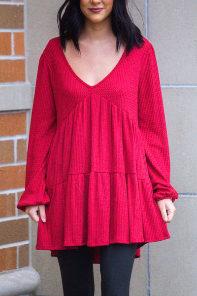 Switch It Up-Tiered Waffle Knit Top Red