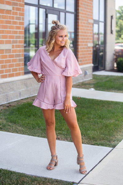 One Dance-Front Wrap Romper Dusty Pink