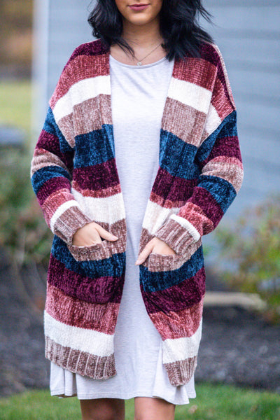 Wake Me Up-Multicolored Striped Cardigan