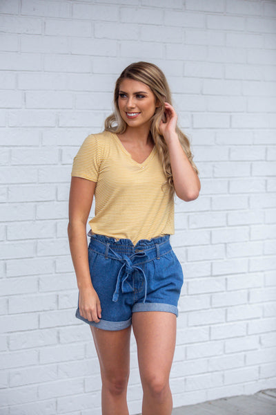 Back In The Day- Mustard Stripe Top