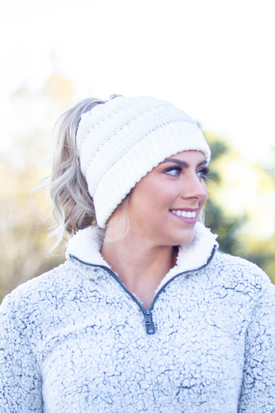 Chill Out- Ivory Messy Bun Beanie