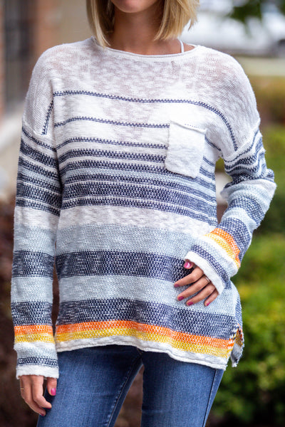 No Limit-Multi Stripe Pullover Sweater