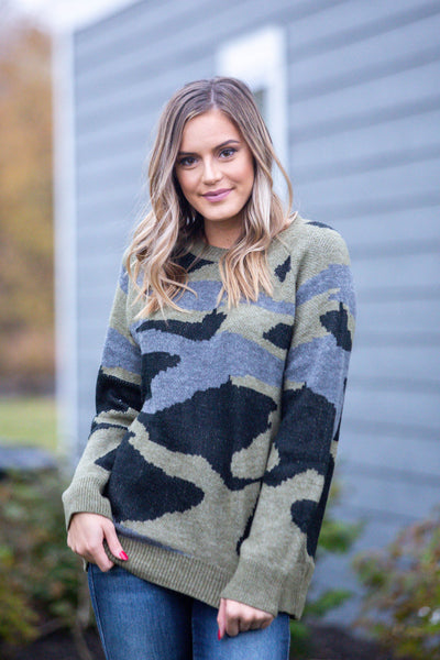 Never Leaving-Oversized Camo Sweater