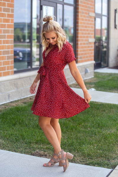 Twist and Shout-Polka Dot Button Down Dress