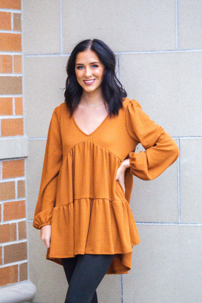 Switch It Up-Tiered Waffle Knit Top Rust