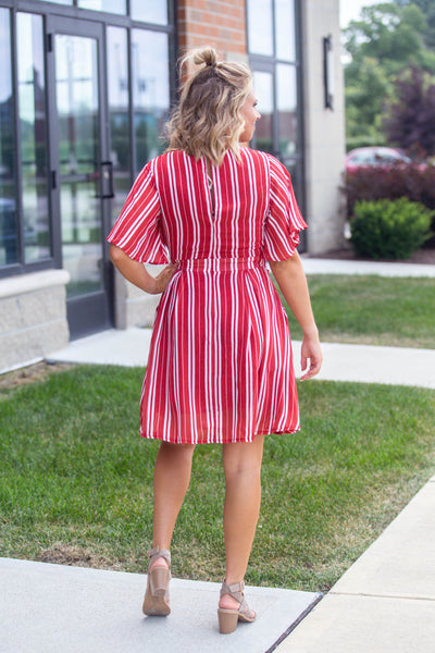 Sweet Jane-Front Twist Striped Mini Dress