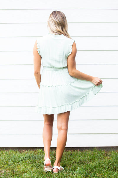 Bloom- Ruffled Neck Smocked Dress Mint