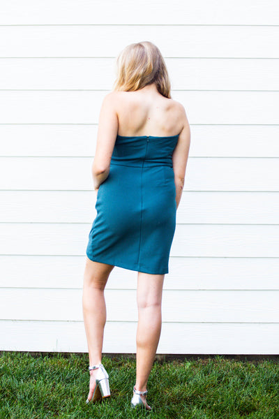 Night Out- Strapless Ruched Waist Cocktail Dress Slate Green
