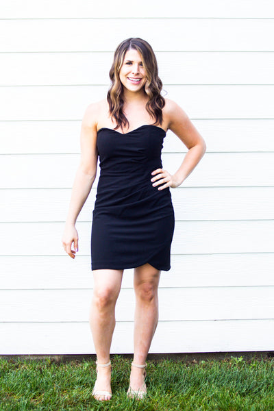 Night Out- Strapless Ruched Waist Cocktail Dress Black