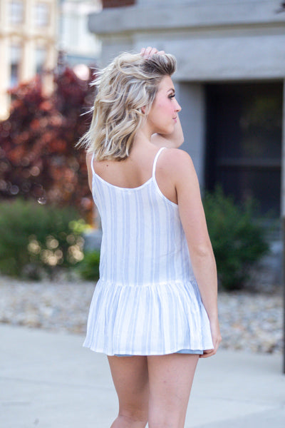 A New Day- Striped Cami wVneck