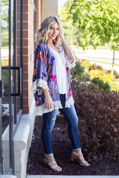 Afterglow-Watercolor Floral Kimono Grey