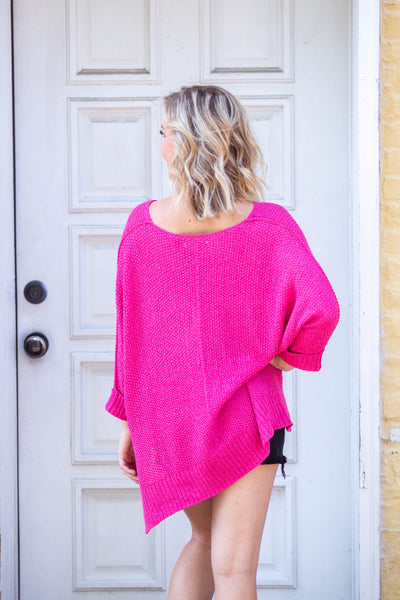Easy Street-Lightweight Sweater with Folded Cuff Fuchsia