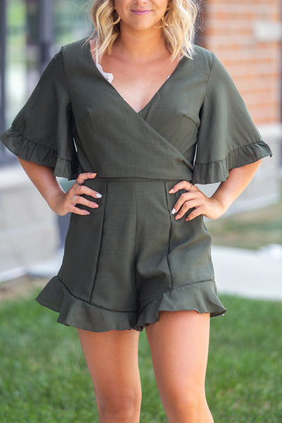 One Dance-Front Wrap Romper Olive