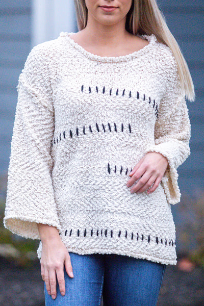 This Ones For You-Zig Zag Popcorn Sweater