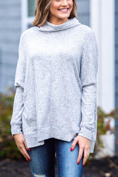 All The Cozies-Cowl Neck Lightweight Sweater Heather