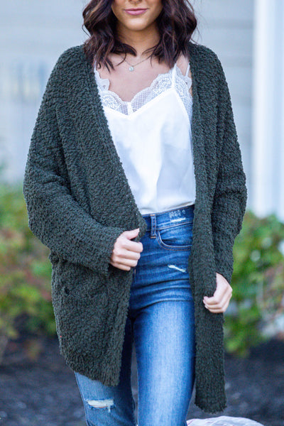 Laters Babe-Textured Oversized Cardigan Olive
