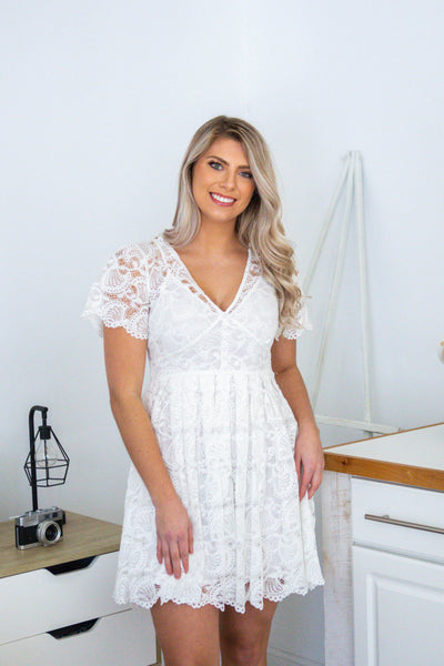 Southern Belle- Lace Dress wButton Up