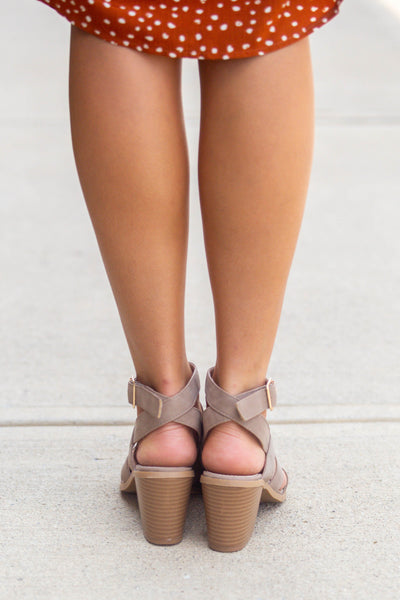Irenee-Strappy Chunky Heel Taupe
