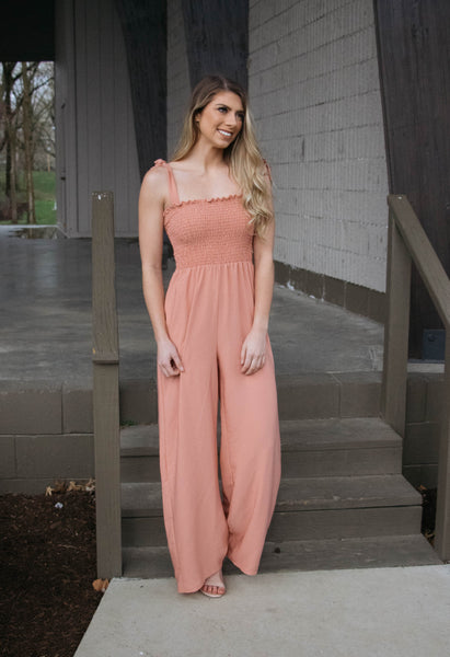 Alyssa- Smocked Jumpsuit Coral