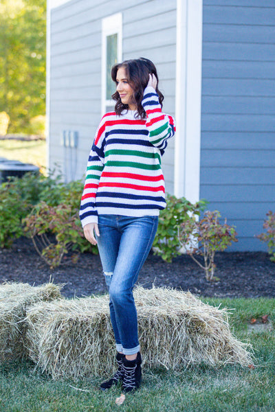 Feel Alright-Striped Pullover Sweater