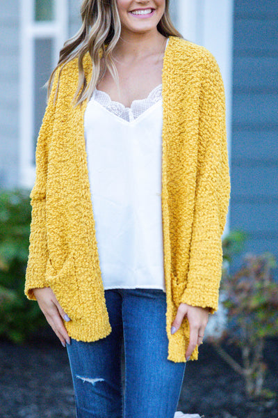Laters Babe-Textured Oversized Cardigan Mustard