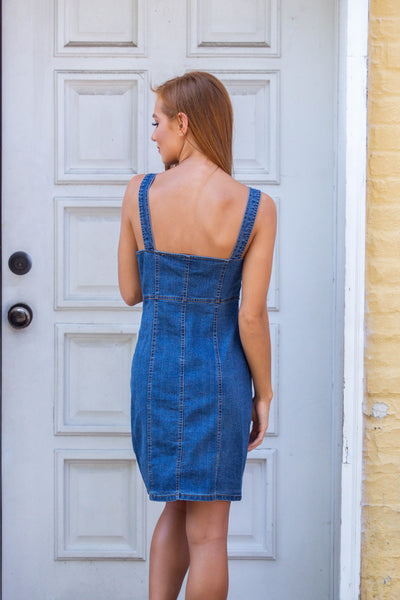 Catching Rays-Button Down Denim Tank Dress