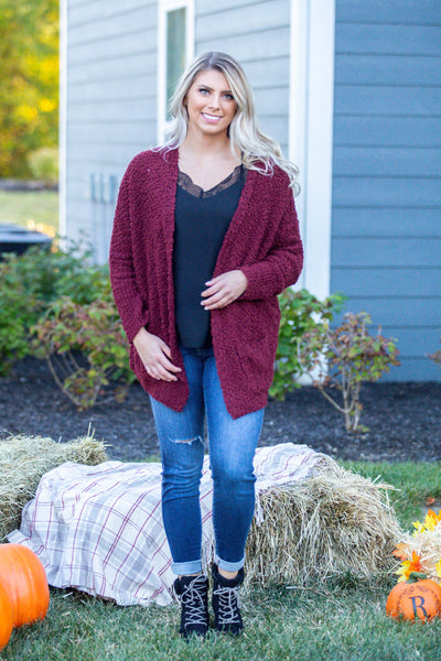 Laters Babe-Textured Oversized Cardigan Burgundy